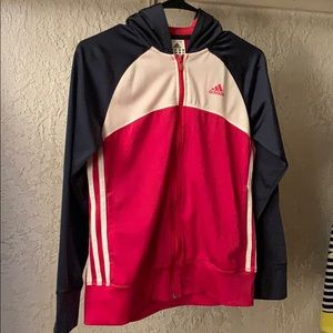 Navy, Pink and White Adidas Zip Up Jacket